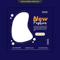 social media nuova moda su sfondo blu. vettore premium