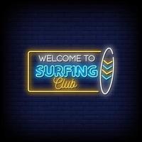 benvenuto al vettore del testo di stile delle insegne al neon del club di surf
