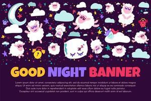 banner della buona notte con pecore piatte vettore