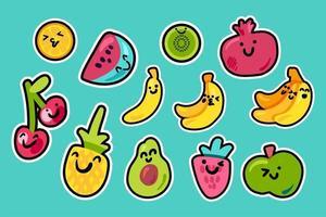 pacchetto kawaii del fumetto di frutti tropicali vettore