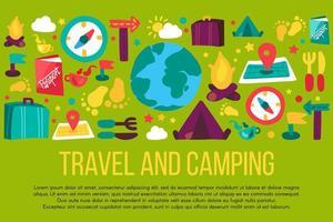banner disegnato a mano di turismo e campeggio con copyspace vettore