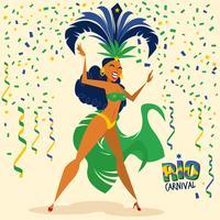 Illustrazione di bella ballerina di samba vettore