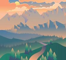mattina paesaggio natura foresta campeggio banner vettore