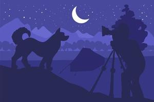 fauna selvatica, illustrazione vettoriale piatto fotografo naturalista