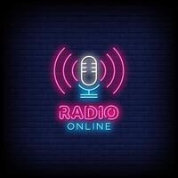 radio online insegne al neon stile testo vettoriale