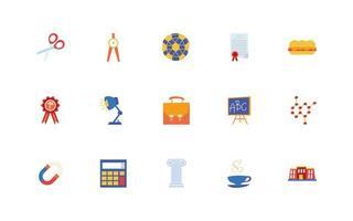 set di icone di scuola e istruzione vettore