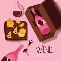 poster di qualità premium del vino con bottiglia e formaggio vettore