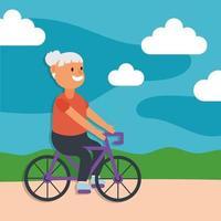 vecchia donna in bicicletta, personaggio senior attivo vettore