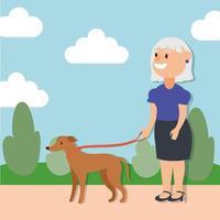 vecchia donna che cammina con il cane, personaggio senior attivo vettore