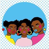 stile pop art di giovani donne afro amici vettore