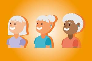 gruppo di donne anziane interrazziale, personaggi anziani attivi vettore