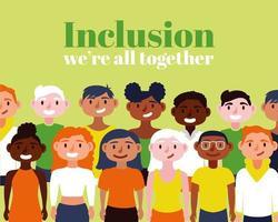gruppo di persone interrazziali, concetto di inclusione vettore
