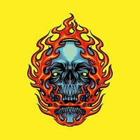 illustrazione della mascotte della testa del cranio del fuoco vettore
