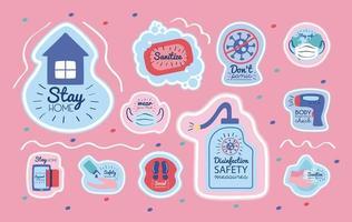 bundle di nuova campagna normale con scritte e icone vettore