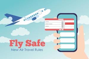 volare manifesto lettering campagna sicura con biglietto di volo in smartphone e volo aereo vettore