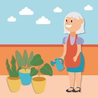 vecchia donna giardinaggio attivo personaggio senior vettore