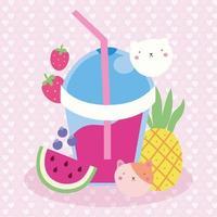 simpatico design kawaii con succhi di frutta e gatti