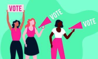 democrazia del giorno delle elezioni con donne interrazziali e megafono vettore