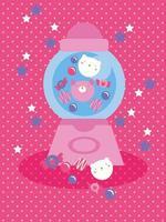 simpatico design kawaii con macchina per caramelle e gatti