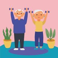 coppia di anziani che solleva manubri, personaggi anziani attivi vettore