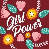 poster di lettering girl power con fiori vettore