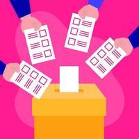 giorno delle elezioni e concetto di democrazia con le mani con schede di voto vettore