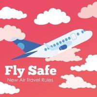 fly poster di lettering campagna sicura con volo aereo vettore