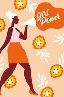 poster girl power con donna afro con megafono e fiori vettore