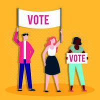 democrazia giorno delle elezioni con persone e parole di voto banner vettore