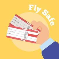 volare manifesto lettering campagna sicura con mani e biglietti di volo vettore