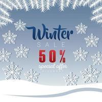 grande poster di saldi invernali con scritte e fiocchi di neve vettore