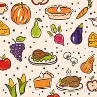 fascio di pattern del giorno del ringraziamento con icone carine vettore
