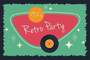 poster di festa in stile retrò con disco in vinile vettore