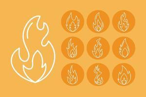 fascio di icone di stile di linea di fiamme di fuoco vettore