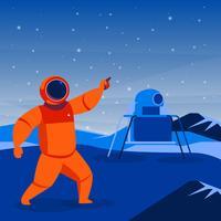Astronauta e astronave atterrato su un pianeta illustrazione vettore