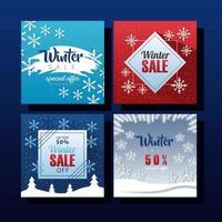 quattro grandi scritte di saldi invernali con fiocchi di neve vettore