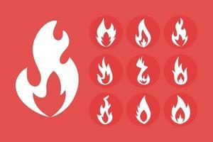 fascio di fiamme di fuoco icone di stile silhouette vettore