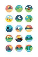 set di icone di scene di paesaggio carino vettore