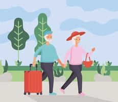 coppia di anziani attivi che viaggiano con le valigie vettore