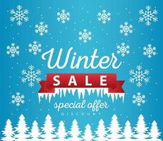 grande poster di vendita invernale con cornice del nastro nella scena del paesaggio innevato vettore