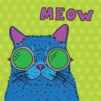 gatto pop colorato con gli occhiali vettore