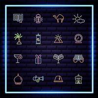 set di icone di stile luce al neon ramadam kareem vettore
