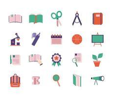 set di icone in stile piatto scuola e istruzione vettore