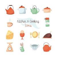 set di icone piatto cucina e cibo vettore