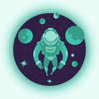 Astronauta Spaceman Outer Space Illustration vettore