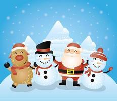 cartolina di Natale con simpatici personaggi vettore