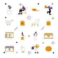 set di icone del negozio online vettore