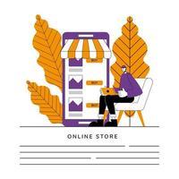 banner del negozio online vettore
