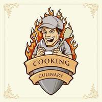 cuoco uomo o chef illustrazione sorriso con il nastro vettore
