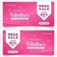 felice modello di banner di san valentino con sfondo rosa